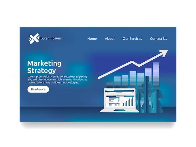 Concept de stratégie marketing pour l'analyse de la finance d'entreprise Vecteur Premium