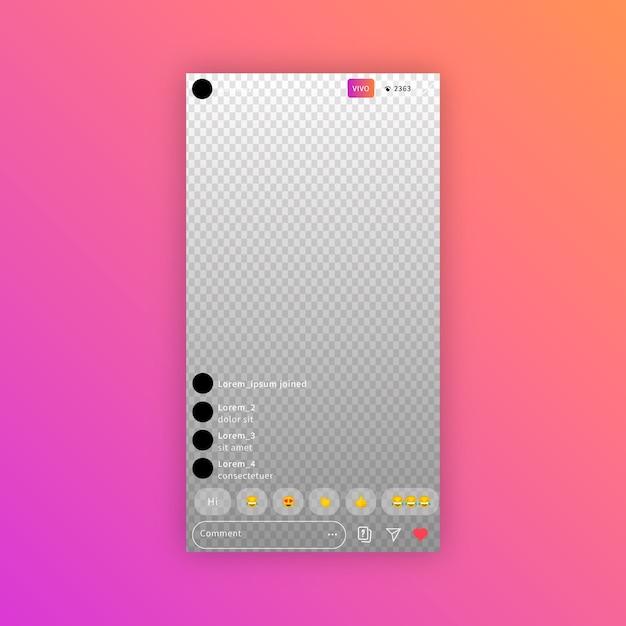 Concept De Streaming D'interface Instagram Vecteur gratuit