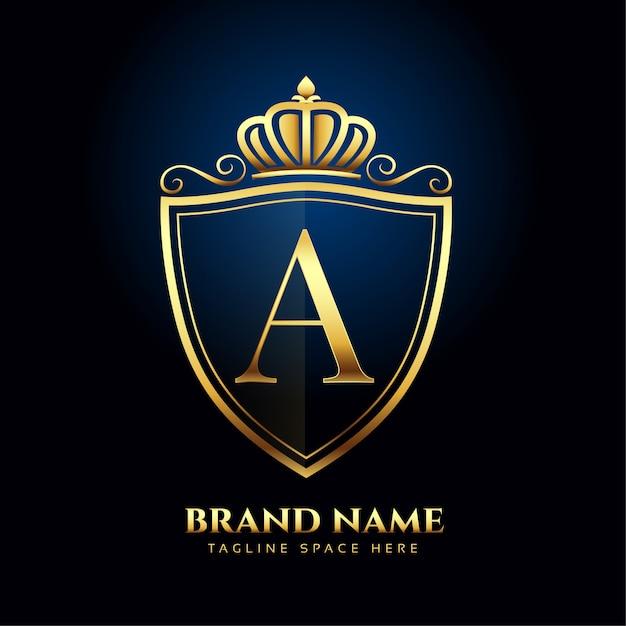 Concept De Style De Luxe Lettre A Couronne Logo Doré Vecteur gratuit