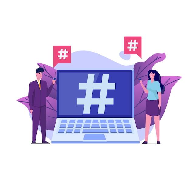 Concept De Style De Médias Sociaux Avec Des Personnages. Vecteur Premium