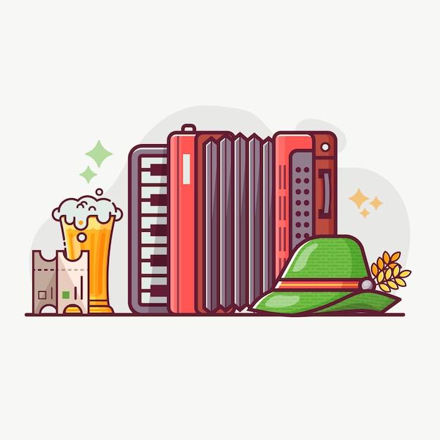 Concept De Symboles Et D'éléments Du Festival De La Bière Oktoberfest. Vecteur Premium
