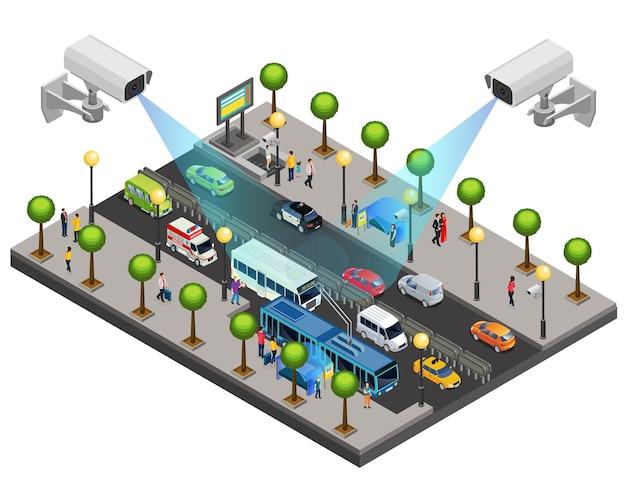 Concept De Système De Sécurité De Ville Isométrique Avec Caméras De Vidéosurveillance Pour La Surveillance Et La Surveillance Sur Route Isolée Vecteur Premium