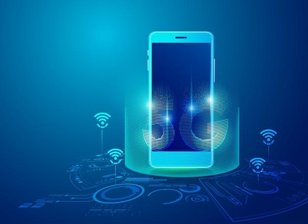 Concept De La Technologie 5g Sur Mobile, Graphique Du Dispositif De Communication Avec élément Futuriste Vecteur Premium
