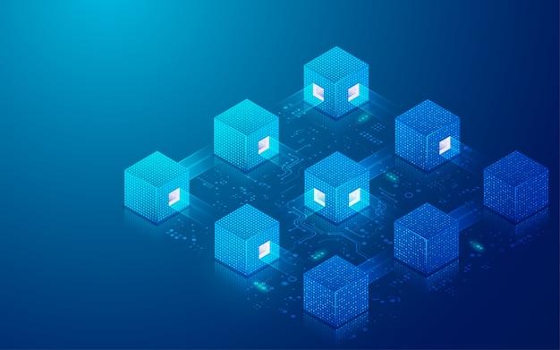 Concept De Technologie De Chaîne De Blocs Ou De Données Volumineuses, Graphique De Cubes Numériques Avec élément Futuriste Vecteur Premium