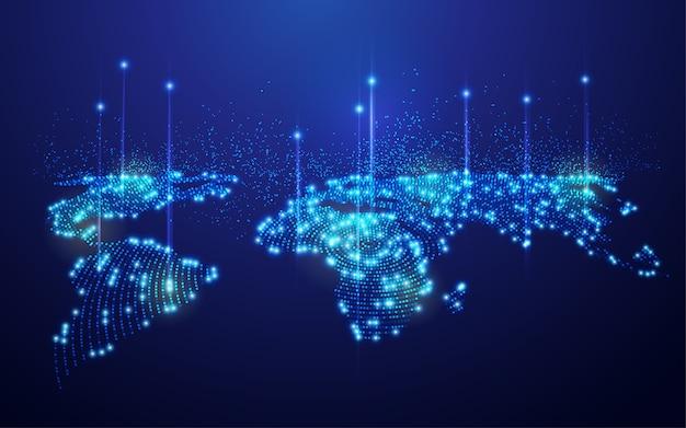 Concept De Technologie De Communication Ou De Réseau Mondial, Carte Du Monde En Pointillé Avec élément Futuriste Vecteur Premium