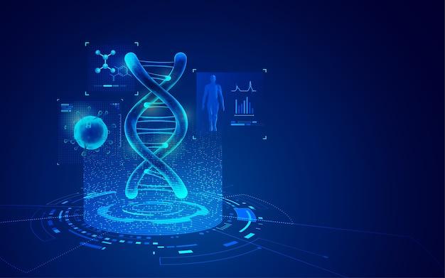 Concept De Technologie Du Génie Génétique, Graphique De L'adn Et Du Virus Avec élément De Soins Médicaux Vecteur Premium