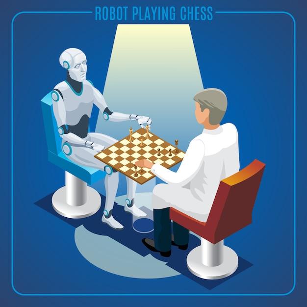 Concept De Technologie D'intelligence Artificielle Isométrique De Robot Jouant Aux échecs Avec Scientifique Isolé Vecteur gratuit