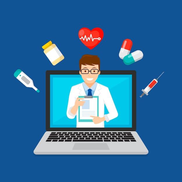 Concept De Technologie De Médecin En Ligne Vecteur gratuit