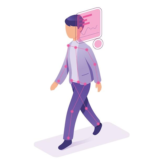Concept de technologie moderne d'identification de visage id Vecteur Premium