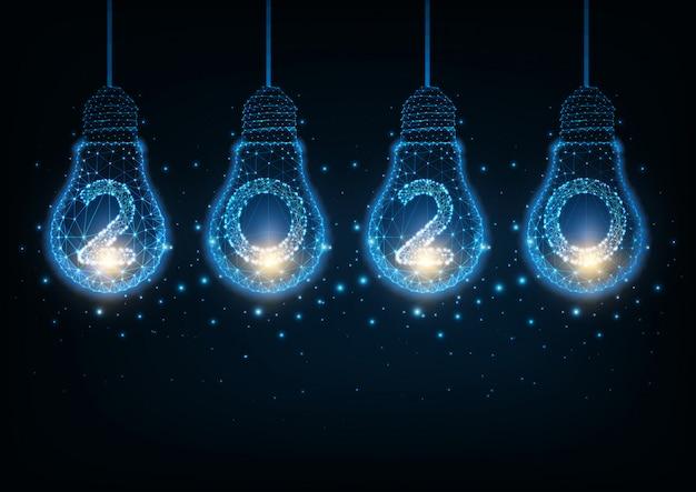 Concept de technologie salut futuriste happy new year avec ampoules et chiffres de la lueur low poly Vecteur Premium