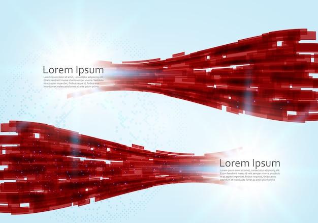 Concept de technologie virtuelle abstraite rouge Vecteur Premium
