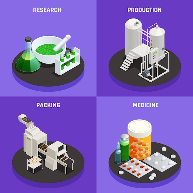 Concept De Technologies Innovantes De L'industrie Pharmaceutique 4 Icônes Isométriques Composition Avec Recherche Scientifique Production Médecine D'emballage Vecteur gratuit