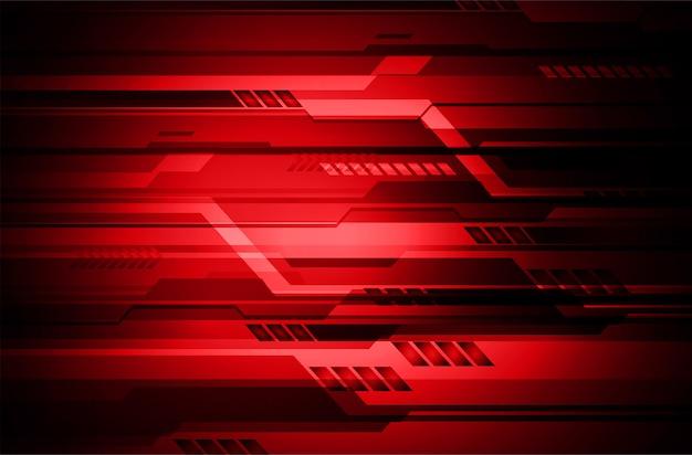 Concept technologique futur cybercircuit rouge Vecteur Premium
