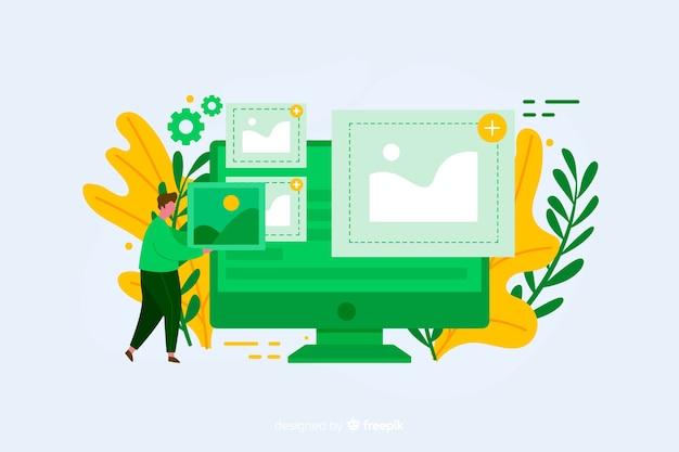 Concept De Téléchargement D'image Design Plat Vecteur gratuit