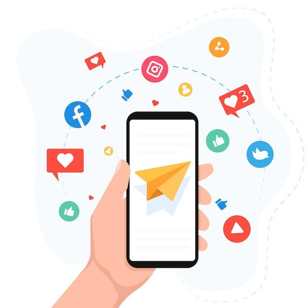 Concept De Téléphone Mobile Marketing Des Médias Sociaux Vecteur Premium