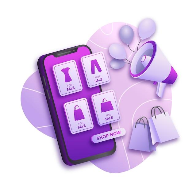 Concept De Téléphone Mobile Marketing Des Médias Sociaux Vecteur gratuit