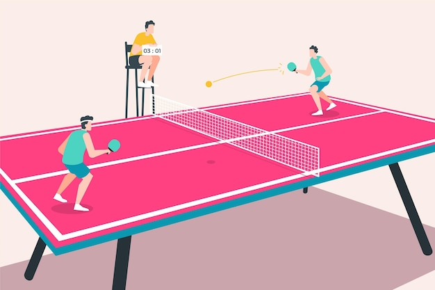 Concept De Tennis De Table Vecteur gratuit