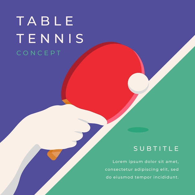 Concept De Tennis De Table Vecteur gratuit