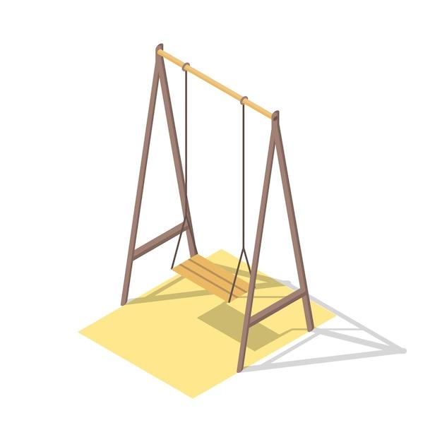 Concept De Terrain De Jeu Isométrique Pour Le Passe-temps Familial En Plein Air. Balançoire. Jardin D'enfants Ludique. Vecteur Premium