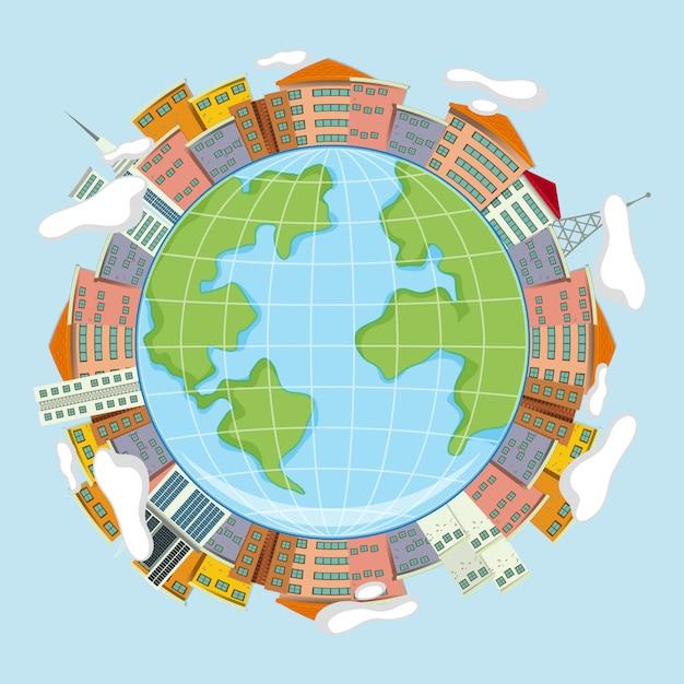 Concept de la terre et des maisons Vecteur gratuit