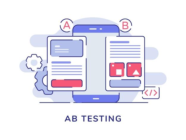 Concept De Test Ab Comparaison Ab Application Filaire Divisé Sur L'écran Du Smartphone D'affichage Avec Style De Contour Plat Vecteur Premium