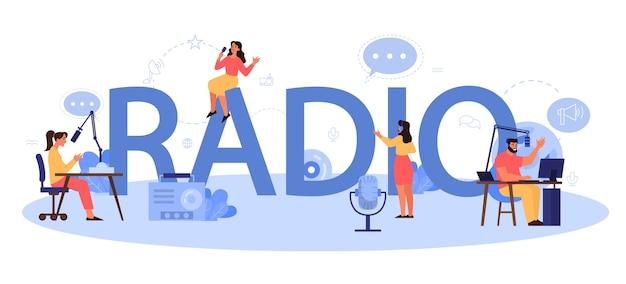 Concept D'en-tête Typographique Radio. Idée D'actualité Diffusée En Studio. Occupation Dj. Personne Qui Parle à Travers Le Microphone. Vecteur Premium
