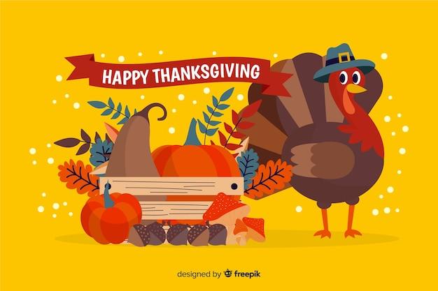 Concept de thanksgiving avec fond design plat Vecteur gratuit