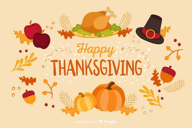 Concept De Thanksgiving Avec Fond Design Plat Vecteur Premium