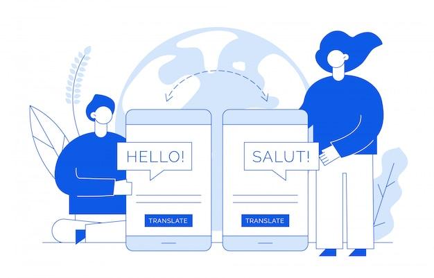 Concept de traduction avec des personnes Vecteur Premium