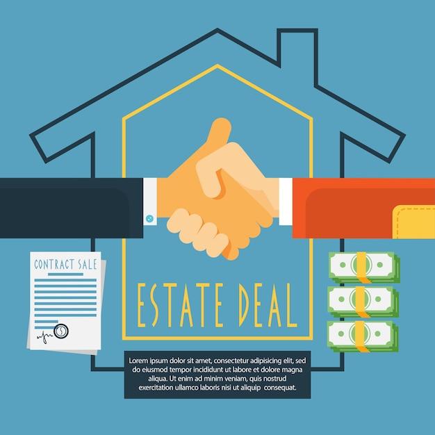 Concept de transaction immobilière handshake estate Vecteur gratuit