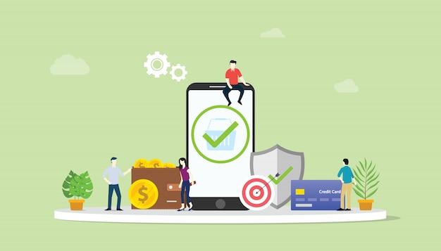 Concept de transactions de paiement sécurisé en ligne Vecteur Premium