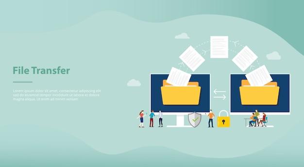 Concept de transfert de fichier avec transfert de dossier et de fichiers déplacé avec des membres de l'équipe pour la conception de modèles de site web ou de page d'accueil de destination Vecteur Premium
