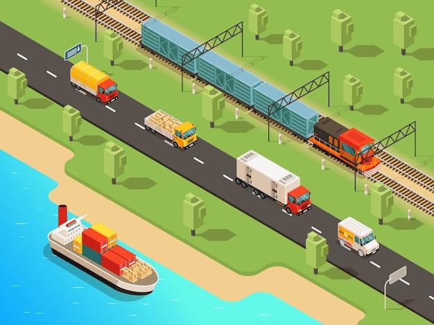 Concept De Transport Logistique Isométrique Avec Camions De Navires Van Et Train De Marchandises Transportant Différentes Marchandises Vecteur gratuit