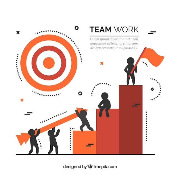 Concept de travail d'équipe avec des barres Vecteur gratuit