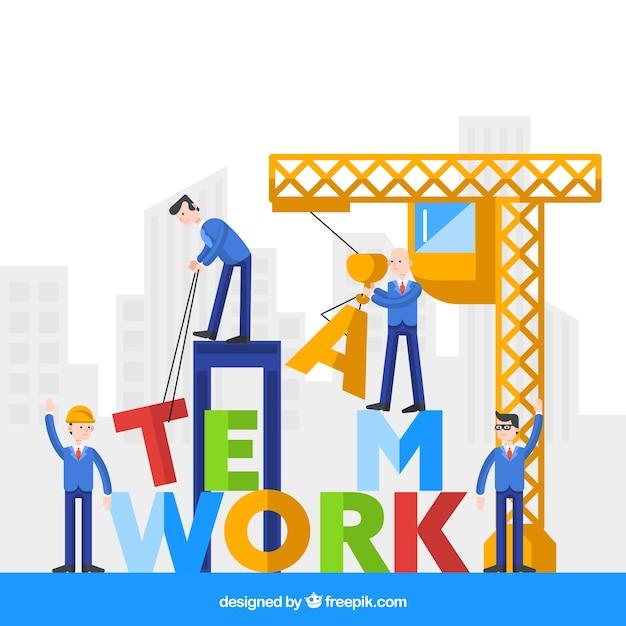 Concept de travail en équipe coloré avec grue Vecteur gratuit