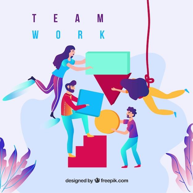 Concept de travail d'équipe commercial avec un design plat Vecteur gratuit