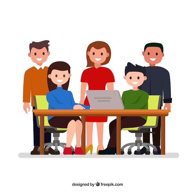 Concept de travail d'équipe avec les gens au comptoir Vecteur gratuit