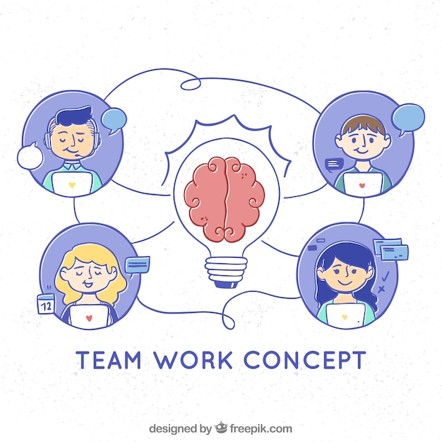 Concept de travail d'équipe avec style dessiné à la main Vecteur gratuit