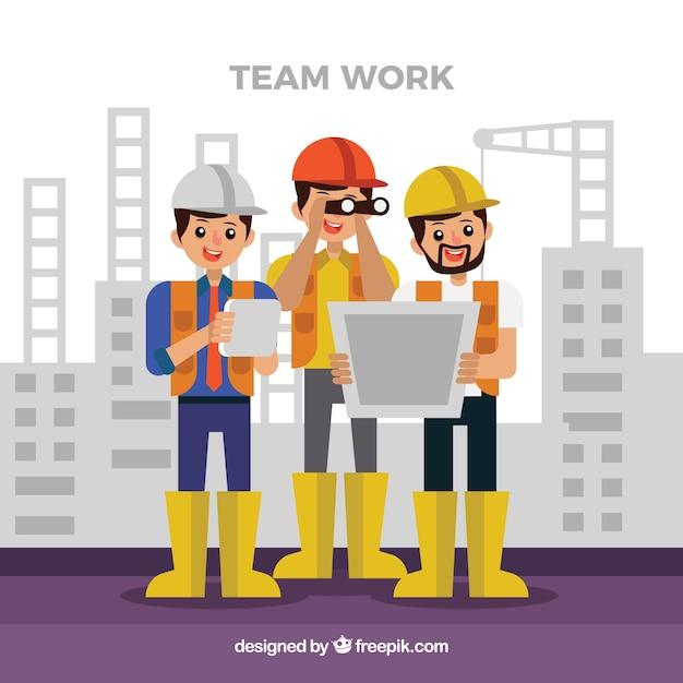 Concept de travail d'équipe avec les travailleurs de la construction Vecteur gratuit