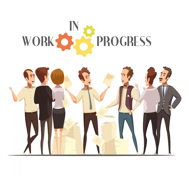 Concept de travaux en cours avec réunion et symboles de la pensée créative dessin animé illustration vectorielle Vecteur gratuit