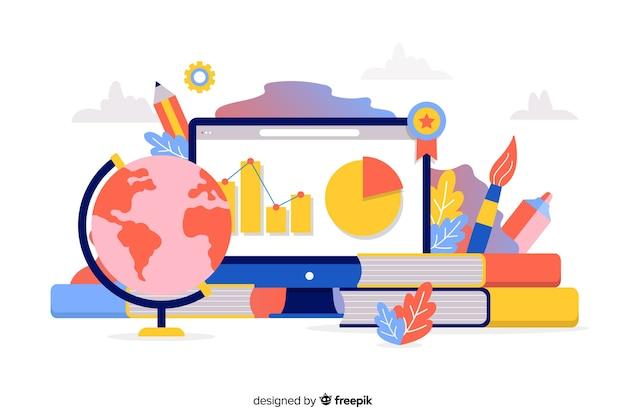 Concept universitaire plat avec des éléments de l'éducation Vecteur gratuit