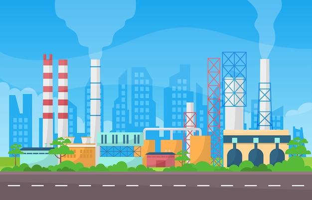 Concept D'usine Industrielle Fabrication Bâtiment Installations Zone Paysage Illustration Plate Vecteur Premium