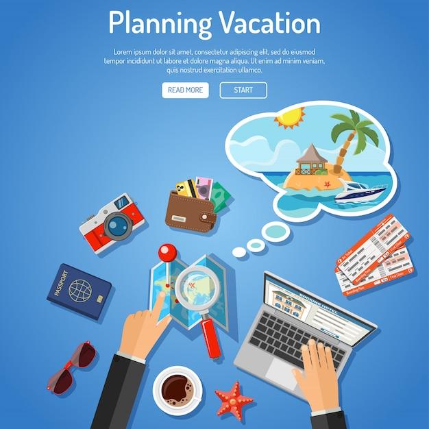 Concept de vacances de planification Vecteur Premium