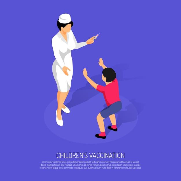 Concept De Vaccination Isométrique Avec Femme Médecin Et Enfant Patient Vecteur gratuit