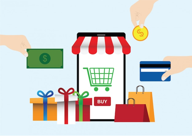 Concept de vecteur d'achats de téléphone mobile en ligne Vecteur Premium