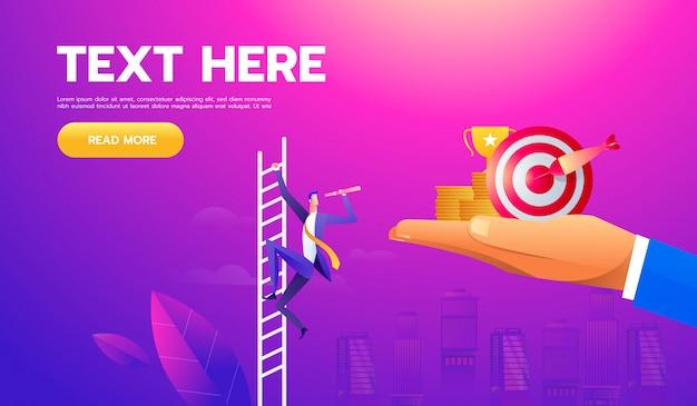 Concept de vecteur d'affaires avec l'homme d'affaires sur une échelle avec le télescope Vecteur Premium