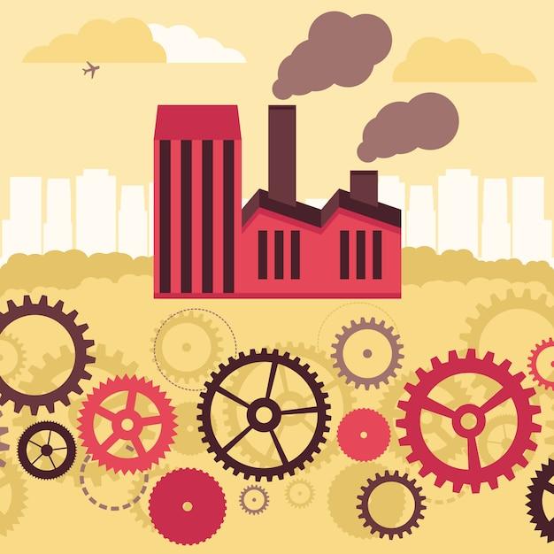 Concept de vecteur - bâtiment d'usine et paysage Vecteur Premium
