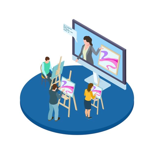 Concept De Vecteur De Cours De Dessin. éducation Artistique En Ligne Avec Des Artistes Isométriques Et Un Enseignant Vecteur Premium