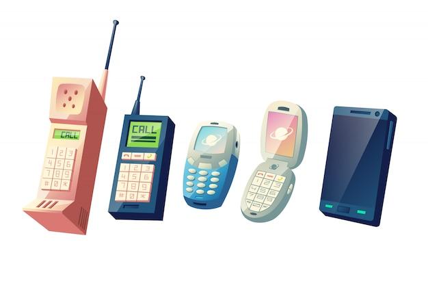 Concept de vecteur de dessin animé évolution téléphones mobiles. des générations de téléphones cellulaires, des modèles vintage dotés de pavés numériques et d'antennes rétractables à des dispositifs intelligents modernes dotés d'une illustration à écran tactile Vecteur gratuit
