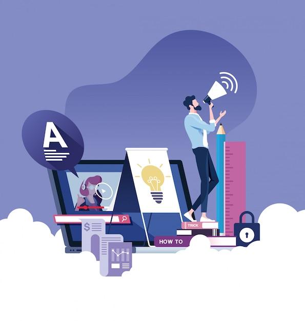 Concept de vecteur d'éducation en ligne ou e-learning Vecteur Premium